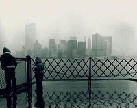 1981.  February. Approaching Manhattan in the rain on the ferry.